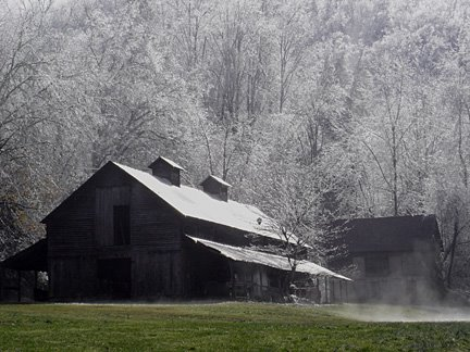 Barn covered in frost
