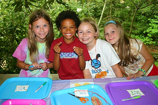 Children Needlecraft at Summer Camp