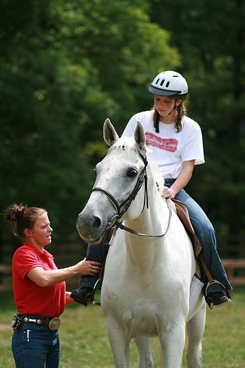 girls riding horses at Rockbrook horseback summer camp