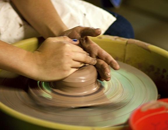 wheel-thrown ceramics at camp