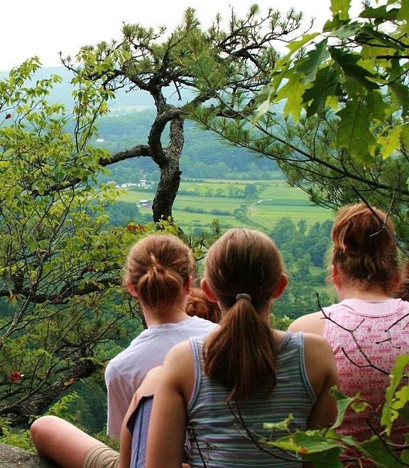 Steep Castle Rock Hiking Girls