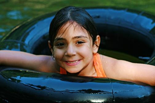 Happy Summer Kid Swimming