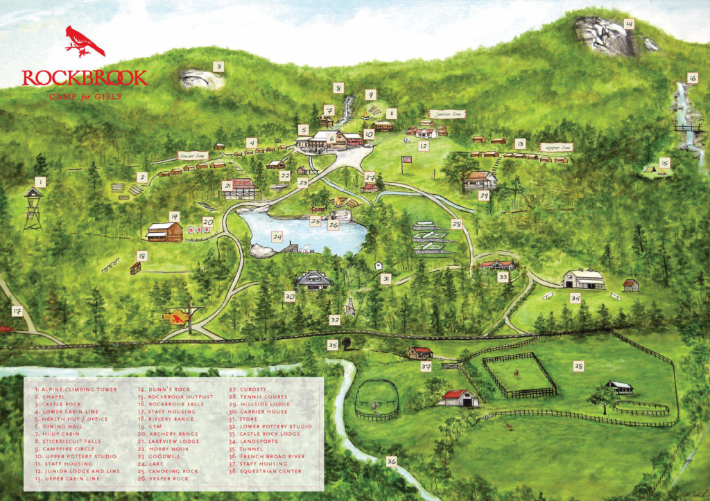 Rockbrook Camp Labeled Map