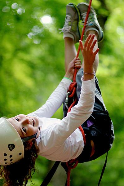 Girl Climber flipping upsidedown