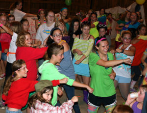 Camp 1980s dance party