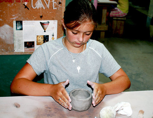 Making ceramics by hand at summer camp
