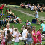 Outdoor lunch picnic at summer camp