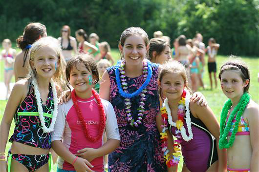 Camper kids enjoying hawaiian Carnival