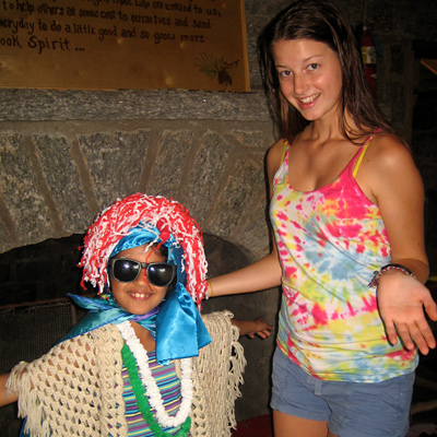 Junior camp girls play dress up game