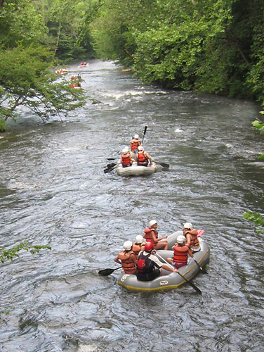 Nantahala River whitewater rafting trip for camp girls