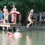 camper girls taking swimming tests