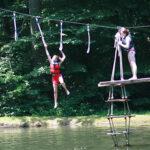 Girls camp waterpark climbing