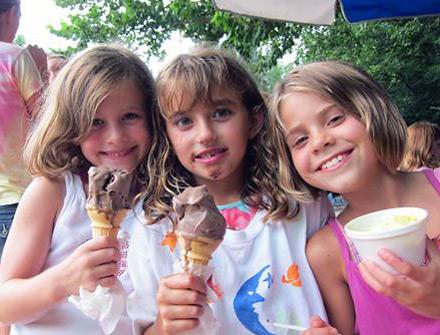 Kids enjoying ice cream at summer camp