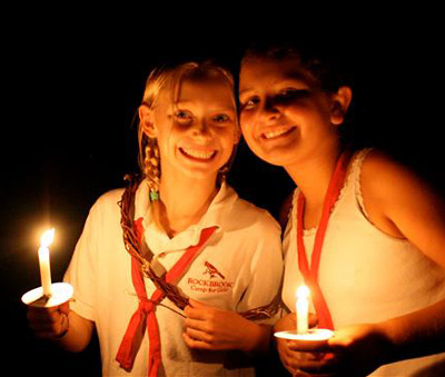 Closing campfire girls with candles
