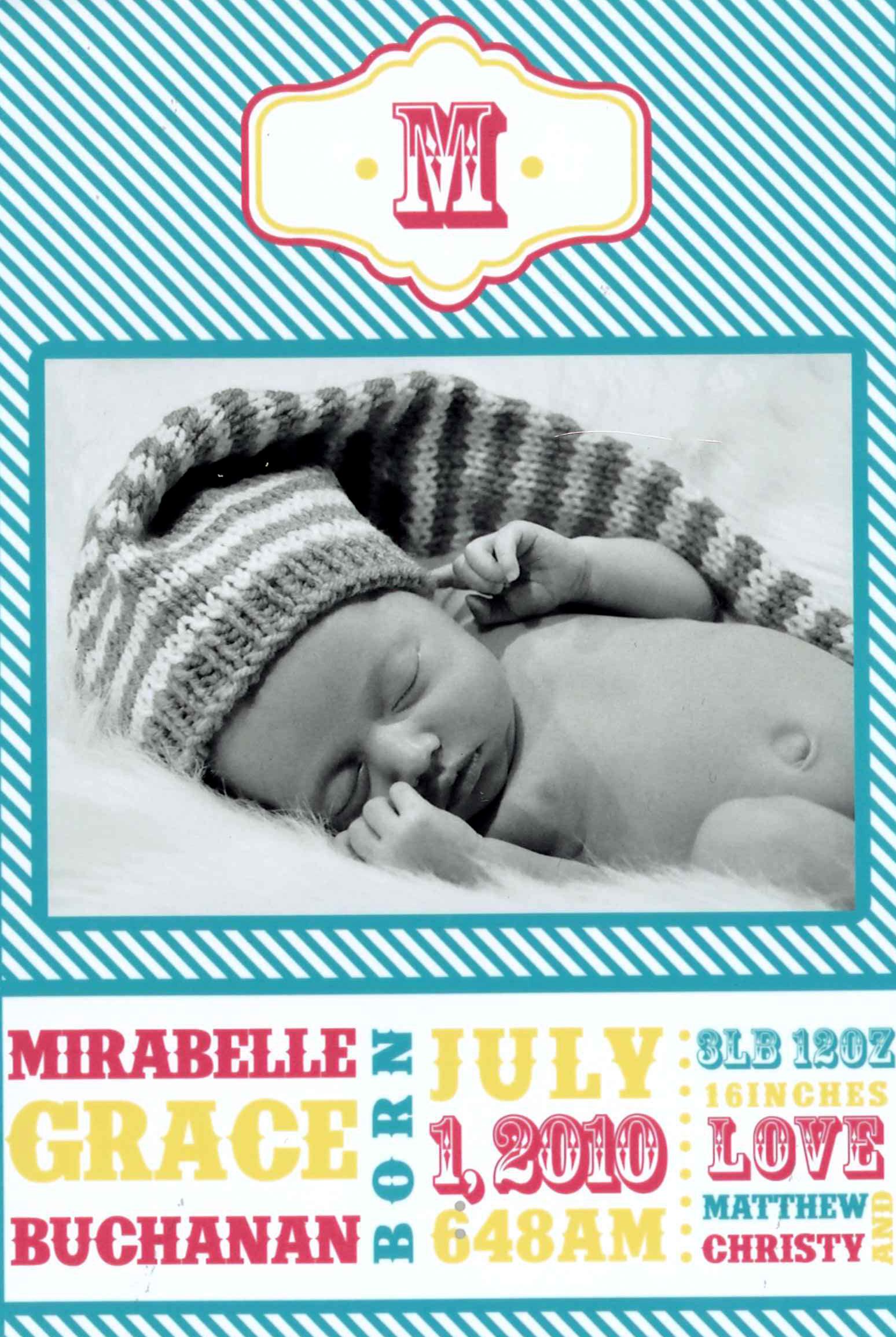 Mirabelle Buchanan Birth Announcement