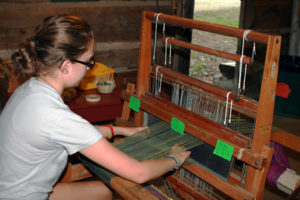 Kids Weaving at Summer Camp