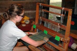 Kids Weaving at Summer Camp
