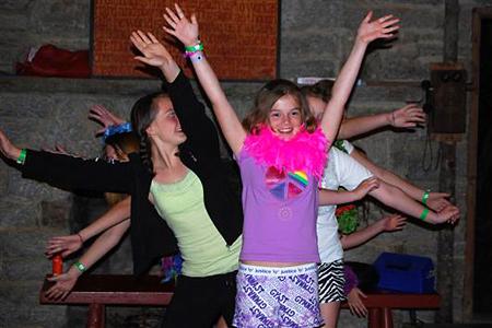 Funny girls skit during evening program