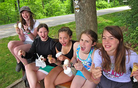 Goofy camp girls having fun at Dolly's