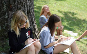 Camp painting class outside