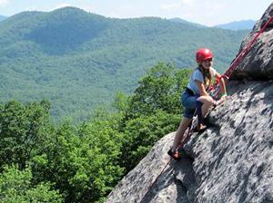 Camp Rock Climbing Kid on Looking Glass Rock