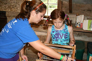 Counselor and Camper Weaving