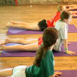 Campers attend yoga class