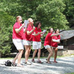 Summer camp staff performing skit