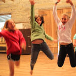 campers dancing in summer camp dance studio