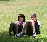 Girls enjoy free time at summer camp