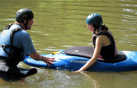 Camper girl kayaking clinic