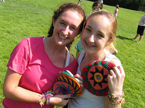 camp girls playing with pocketdiscs