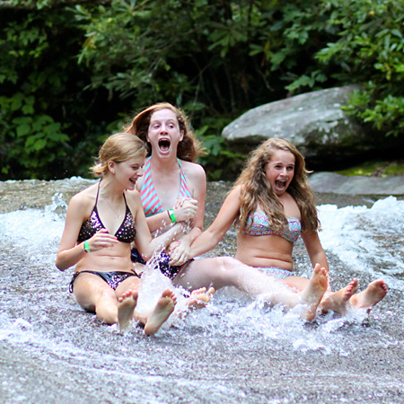 girls screaming on sliding rock