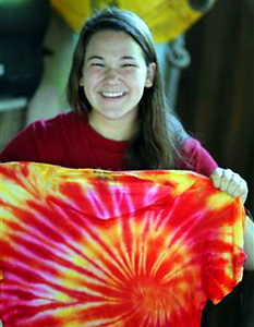 Girls camp tie dyeing