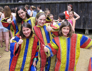 campers dressed in velcro suits