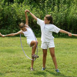 Campers play on the white team for camp olympics
