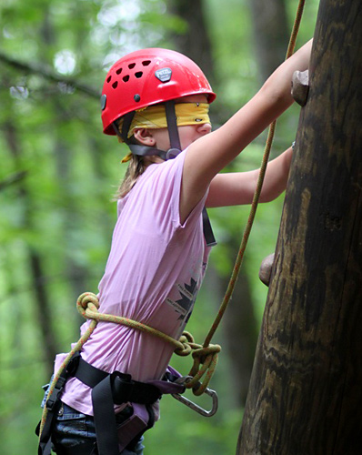 Tower climber blindfolded