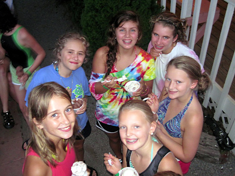 group of camp kids eating ice cream at Dolly's Dairy Bar