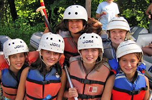 Campers teamed up to raft the Nantahala
