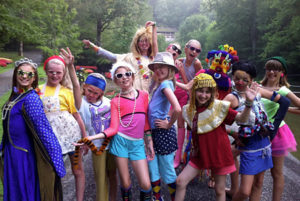 Camp kids dressed up in silly costumes