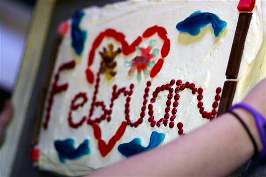 February decorated birthday cake at camp