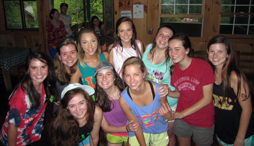 Camp girls at dance with boys camp