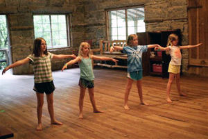 Rockbrook girls taking dance lessons at summer camp