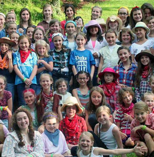 Girls dressed in western clothes at Rockbrook