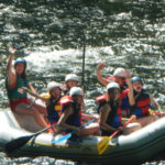 Campers whitewater rafting