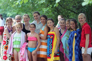 Girls at camp waiting for swimming