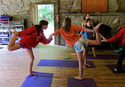 Girls yoga class pair pose