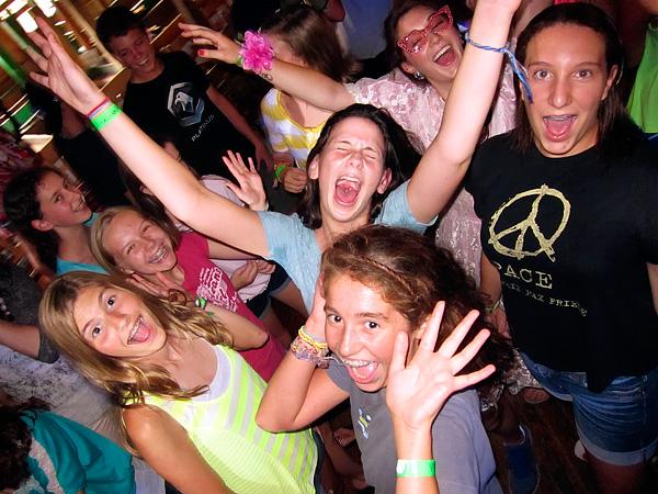 teenage campers dancing at camp dance
