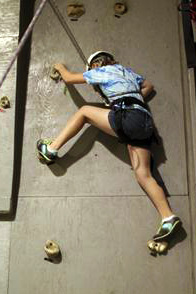 Indoor climbing wall at summer camp