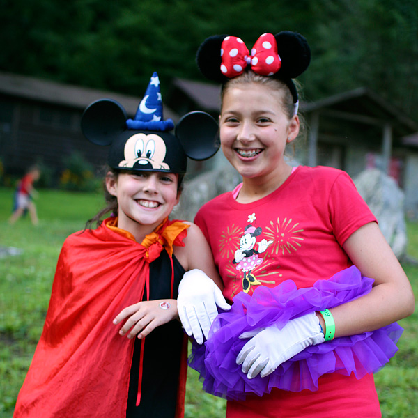 Kids camp wearing disney clothes